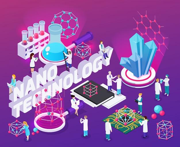 Nanotechnologie isometrische abstracte compositie met microchips fullereen structuur mono kristallijne koolstof nanobuisjes iconen