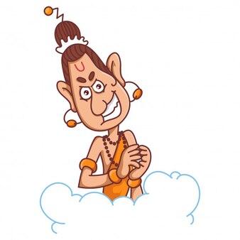 Narad muni met schattige expressie cartoon afbeelding