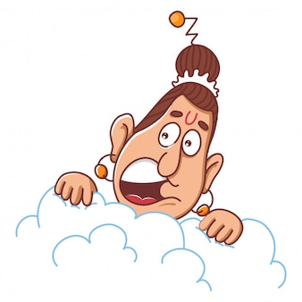 Narad muni op wolk cartoon afbeelding