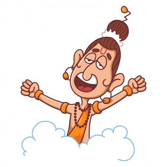 Narad muni op wolk met open armen cartoon afbeelding