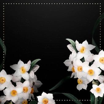 Narcis grens frame vector op zwarte achtergrond