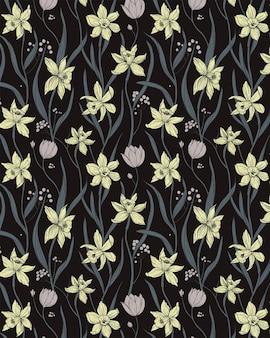 Narcissen bloemen behang illustratie