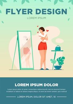 Narcissist dame die zich bij spiegel bevindt en weerspiegeling van haar rug bekijkt. jonge vrouw probeert shirt aan, knuffelt zichzelf. vectorillustratie voor eigenliefde, gevoel van eigenwaarde, vrouwelijk gedrag concept