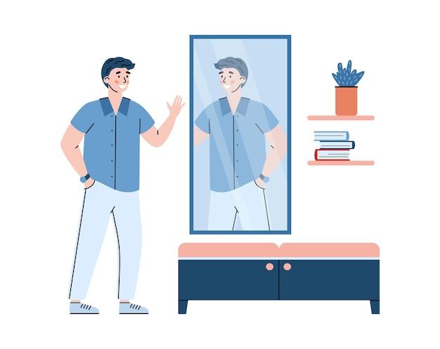 Narcistische jongeman met positieve zelfbeoordeling, acceptatie en achting