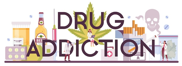 Narcoloog typografische koptekst. professionele medisch specialist. drugsverslaving.