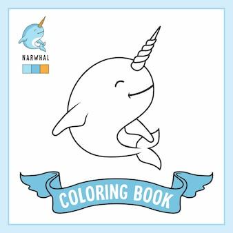 Narwal dieren kleurplaten boek