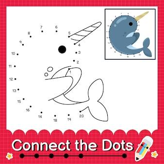 Narwal-kinderpuzzel verbind de stippen werkblad voor kinderen die getallen 1 tot 20 tellen