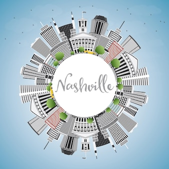 Nashville skyline met grijze gebouwen, blauwe lucht en kopie ruimte. vectorillustratie. zakelijk reizen en toerisme concept met moderne architectuur. afbeelding voor presentatiebanner plakkaat en website.