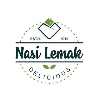 Nasi lemak-logo betekent gekookte rijstvector
