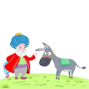 Nasreddin hodja en zijn dankey vectorillustratie