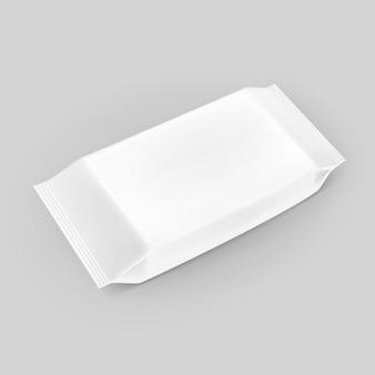 Nat veegt servetten leeg wit verpakkend pakketpak op achtergrond af