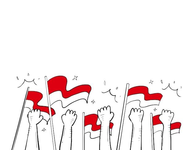 Natie onafhankelijkheid hand getekend