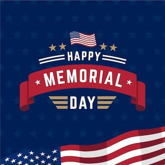 Nationaal amerikaans herdenkingsdag plat ontwerp