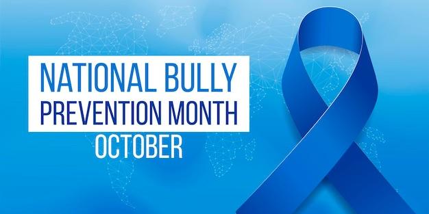 Nationaal bully prevention maand concept. sjabloon voor spandoek met blauw lint bewustzijn en tekst. vector illustratie.