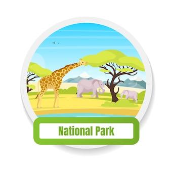 Nationaal park egale kleur badge. dierlijke observatie. trp tot behoud. toerisme, reis. afrikaanse savanne expeditie grafische sticker. wildlife geïsoleerde cartoon ontwerpelement