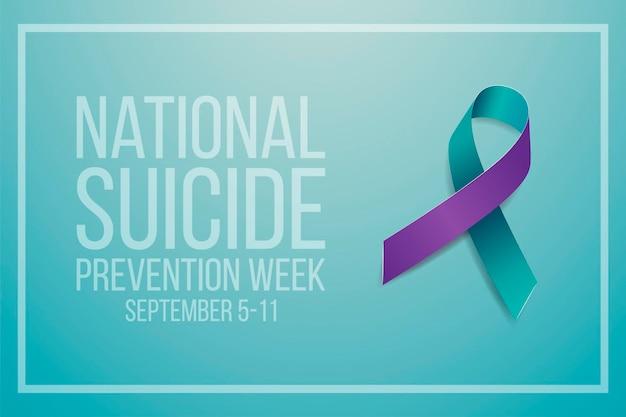 Nationaal zelfmoordpreventieweekconcept. banner voor 5-11 september met groenblauw en paars lintbewustzijn en tekst. vector illustratie.
