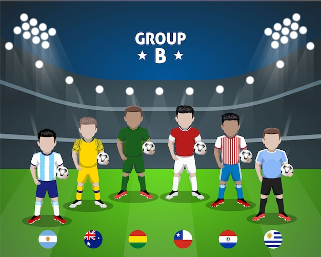 National football team group b flat character for american competition