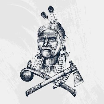 Nationale amerikaanse en inheemse indiase tradities. mes en bijl, gereedschappen en instrumenten. gegraveerde hand getekend in oude schets. een man met veren op zijn hoofd. embleem of logo.