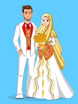 Nationale bruiden met goud en witte kleding en rode bloemen