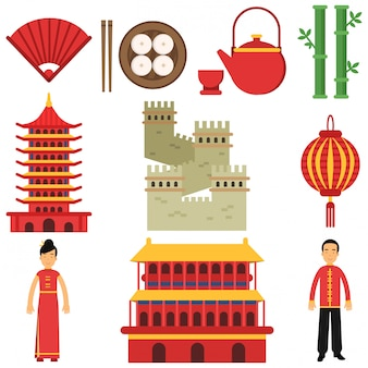 Nationale culturele symbolen van china. sushi, handventilator, lantaarn, chinese architectuur, grote muur, groene bamboe, theepot en kopje, traditionele kleding. plat pictogrammen