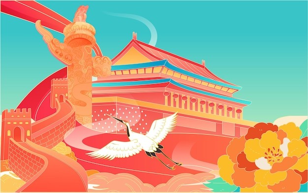 Nationale dag gouden week stad reizen illustratie chinese stijl gebouw poster