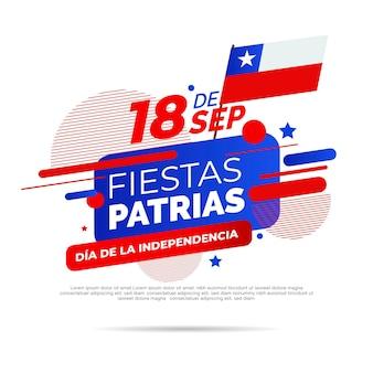 Nationale dag van chili met vlag