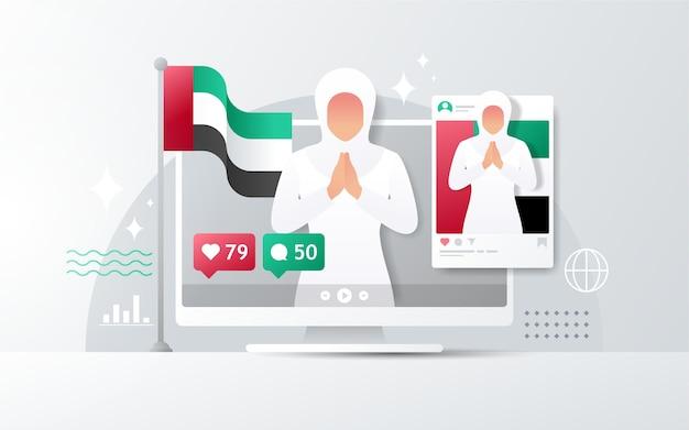 Nationale dag van de verenigde arabische emiraten op desktop met instagram-feed