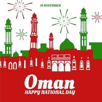 Nationale dag van oman gebouwen en vuurwerk