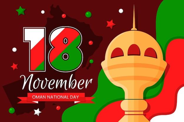 Nationale dag van oman illustratie met sterren en datum