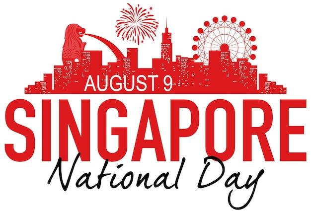 Nationale feestdag banner met bezienswaardigheden van singapore