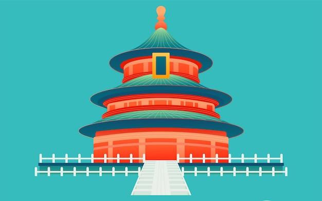 Nationale feestdag vakantie vakantie speel illustratie chinese stijl tempel van de hemel gebouw poster