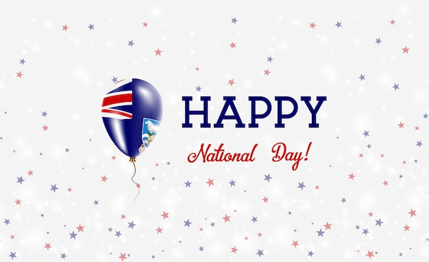 Nationale feestdag van de falklands patriottische poster. vliegende rubberen ballon in de kleuren van de falkland islander-vlag. falkland national day achtergrond met ballon, confetti, sterren, bokeh en sparkles.