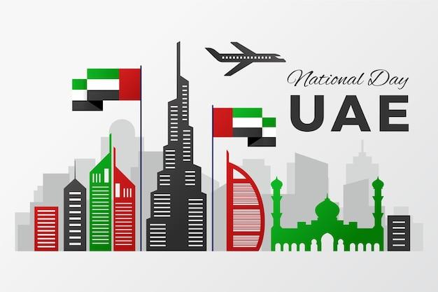 Nationale feestdag van de verenigde arabische emiraten en het vliegtuig