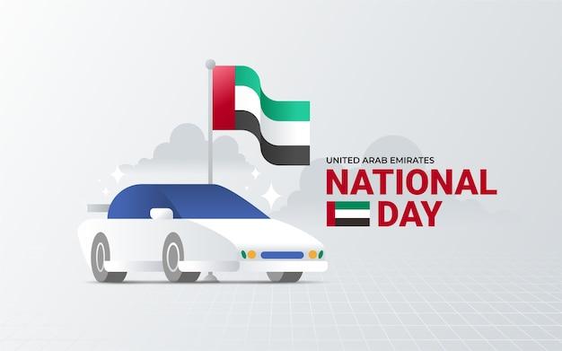 Nationale feestdag van de verenigde arabische emiraten met superauto