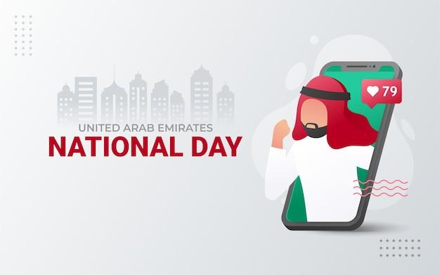 Nationale feestdag van de verenigde arabische emiraten met telefoon