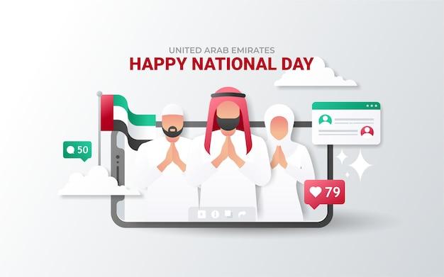 Nationale feestdag van de verenigde arabische emiraten op de telefoon