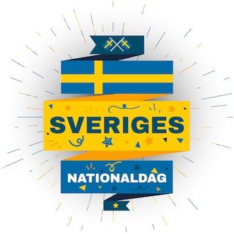 Nationale feestdag van zweden. kaart voor onafhankelijkheidsvakantie van 6 juni. zweeds nationaal feest en evenementelement te koop, flyer-sjabloon. platte vectorillustratie