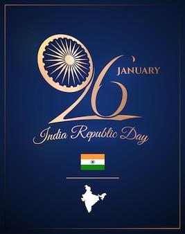 Nationale feestposter met het wielsymbool van india en gouden tekst met kaart