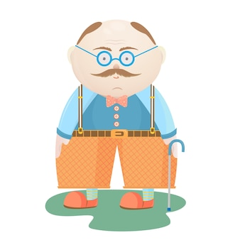 Nationale grootoudersdag. een oude man met een snor in een bril met een wandelstok.