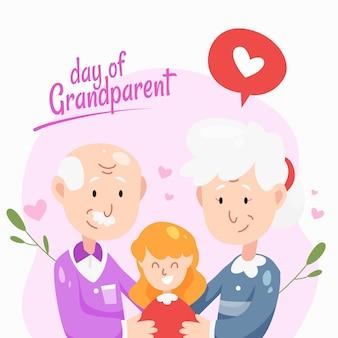Nationale grootoudersdag met grootouders en nichtje