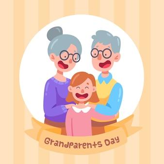 Nationale grootoudersdag met kind en grootouders