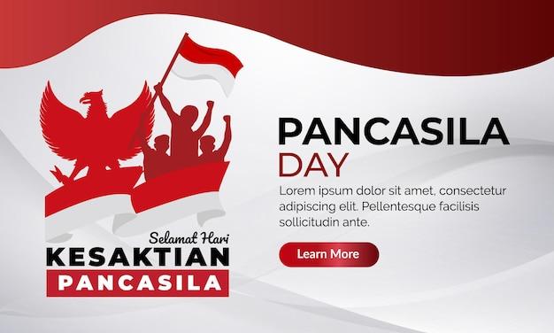 Nationale pancasila-dagbanner van indonesië met rode en witte achtergrond