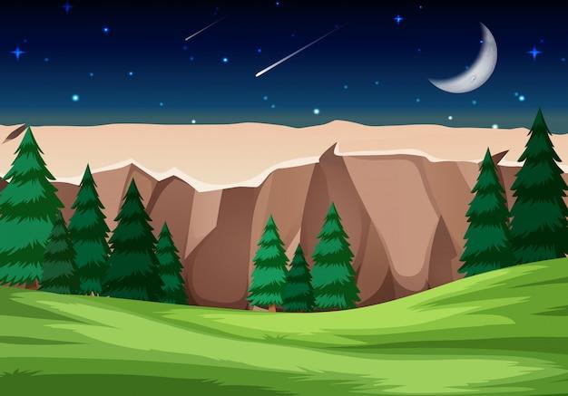 Nationale parkscène bij nacht
