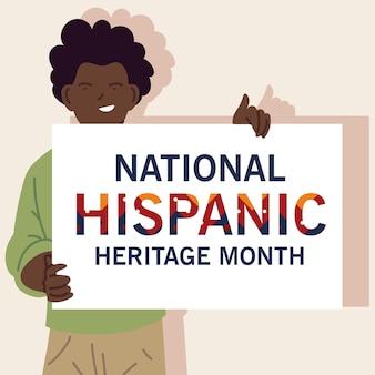 Nationale spaanse erfgoedmaand met latijns-man cartoons, cultuur en diversiteit thema illustratie