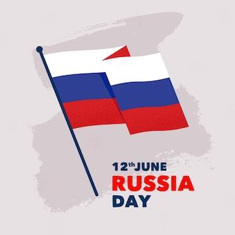 Nationale vlag hand getekend rusland dag