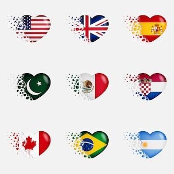 Nationale vlaggen in hartillustratie. met liefde voor het land. de nationale vlaggen van vliegen kleine harten uit