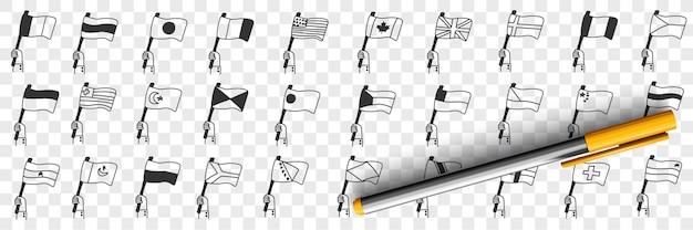 Nationale vlaggen van landen doodle set