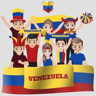 Nationale voetbalteam supporter van venezuela voor amerikaanse competitie