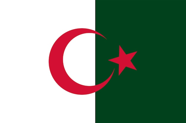 Nationale witte en rode vlag van de algerijnse democratische volksrepubliek