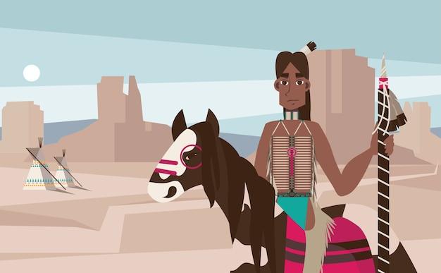 Native america indiase man berijden van een paard